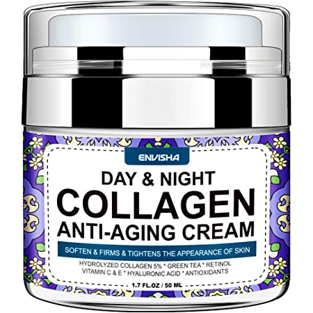 Envisha Collagen Cream - Day and Night Cream for Women & Men - Face Moisturizer with Hyaluronic Acid & Vitamin C, Helps Cleanse, Moisturize, Rejuvenate, and Brighter Your Skin