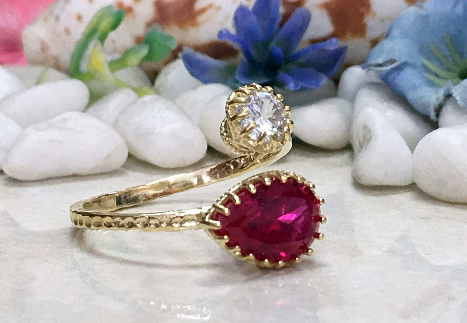 Ruby Ring - Dual Gemstone Outlet SALE Finally resale start Birthstone Two Birt July