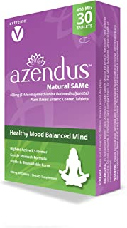 Azendus SAM-e Mood Support 400mg, 30 Count, Same Butanedisulfonate Fiber Enteric Coated Tablets, Physician Trusted, 1 Recommended Active Form