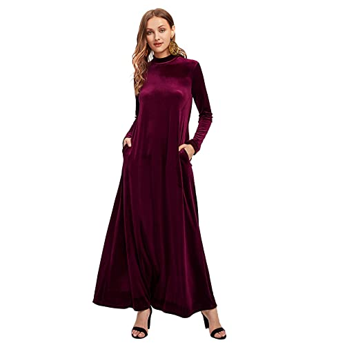 e34cb534f87f9 MAKEMECHIC Women's Elegant Long Sleeve Velvet Loose Maxi Dress