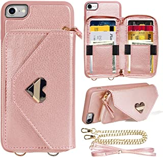 Zipper Wallet Case for New iPhone SE 2020 (2nd Generation). iPhone 7 Wallet Case. iPhone 8 Crossbody Case with Card Holder Wrist Strap Chain Protective for Apple iPhone 7/8/SE 4.7 inch - Rose Gold