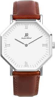 Jacques Reboul Premier Roman Silver | St. Martin Women's 36mm Brown Leather Strap