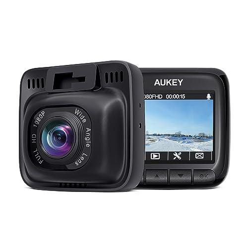 AUKEY Cámara de Coche Full HD 1080P Dash Cam 170°Gran Ángulo, Supercondensador, WDR Visión Nocturna Dashcam con G-Sensor, Loop de Grabación y Cargador de Coche con Doble Puerto