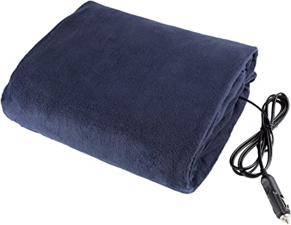 Stalwart 75-hblanket Electric Car Blanket- Heated 12 Volt Fleece Travel Throw for Car and RV-Great for Cold Weather, Tailgating, and Emergency Kits by -BLUE: image