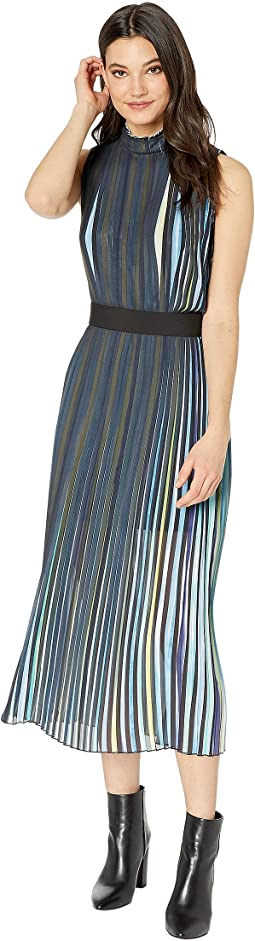 Rainbow Pleated Midi Dress