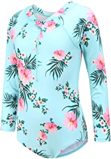 Moon Tree Girls Rash Guard One Piece Swimsuits Long Sleeve Bathing Suit