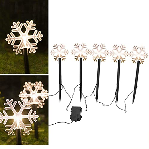 high quality Christmas lowest Garden Lights Outdoor Decor Lights, Pack of 10, Cool White LED Landscape Lamps lowest Stake Lights, Holiday Party Decorative Lights Set for Patio Walkway, Yard, Lawn, Battery Included (Snow, 5 pc) online sale