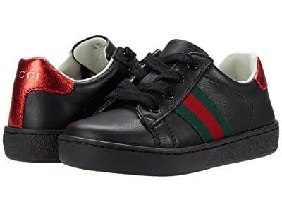 Gucci Kids Leather Low Top Sneaker w/ Web (Toddler) Kid