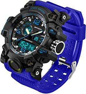 Men's Digital Watch Large Face LED Wrist Watches Military Sports Digital Analog Dual..