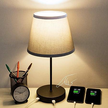 Lampe de Chevet Tactile, Kakanuo Lampe de Table à 3 Intensité, Abat-Jour Gris en Tissu, Lampe de Bureau Noir, AC85-220V Ampoule E27 Incluant