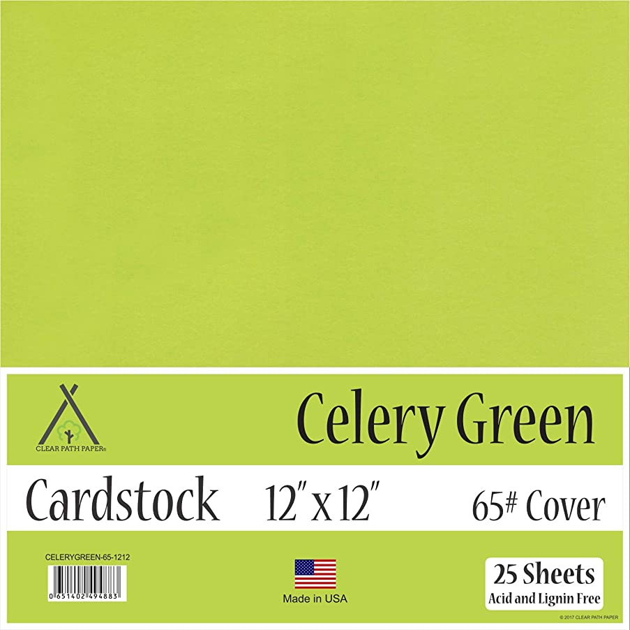 Celery Green Cardstock - 12 x 12 inch - 65Lb Cover - 25 Sheets