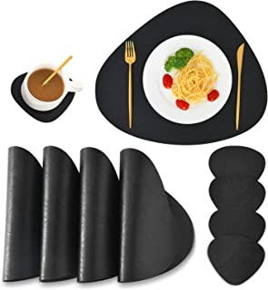 SUBEKYU Faux Leather Placemats and Coasters Set, Washable Round Table Mat, Waterproof Coffee Mats, Heat-Resistant Place Ma...