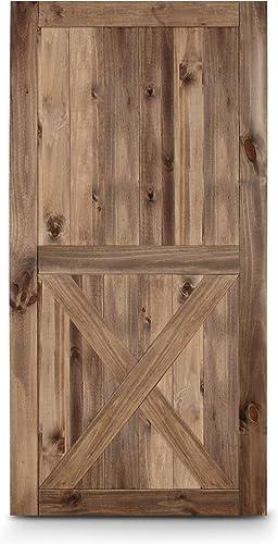 BELLEZE 42in x 84in Single X-Frame Sliding Barn Door Unfinished Solid Knotty Pine Wood Panelled Slab DIY Assemble, Brown