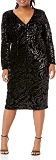 Dress the Population womens Elizabeth Plunging Sequin Midi Long Sleeve Sheath Dress PLUS Dress