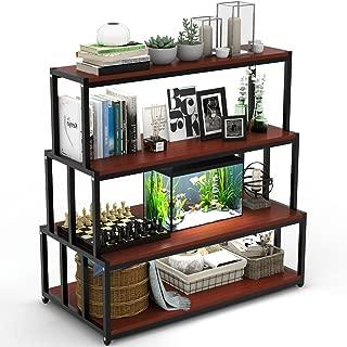 LITTLE TREE Ladder Shelf, 4-Tier Storage Rack Shelf Unit for Home Office, Cherry