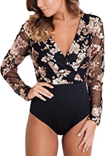 Women V Neck Floral Sequin Bodysuit Mesh See Through Long Sleeve Jumpsuit Top