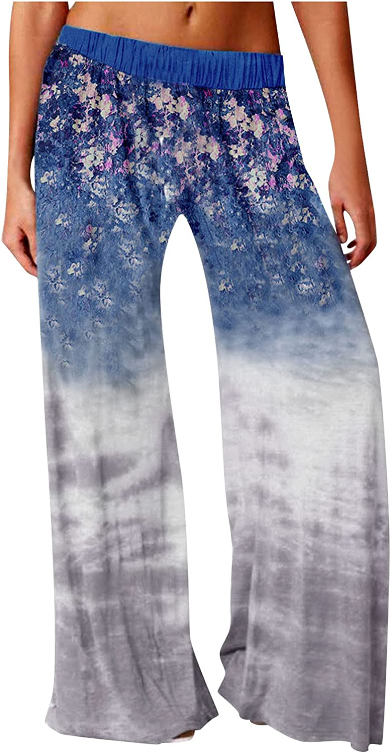 Women's Comfy Floral Pajama Pants Casual Stretch Drawstring Wide Leg Palazzo Lounge Pants with Pockets