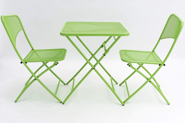 Mercury   Sillas y mesa de jardín   Mesa plegable   Sillas de jardín – The Lovers' Prattle – Juego de mesa cómodas sillas de acero inoxidable   apto para interior y exterior (verde sabi)