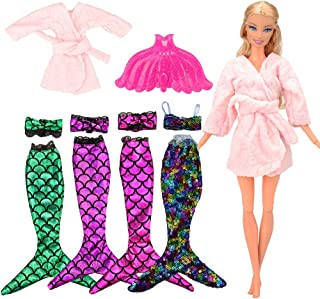 BARWA Mermaid Tail Dresses with Top Rainbow Sequins Handmade Swimsuit Swimwear with Plastic Mermaid Tail Pink Pajamas Clothes for 11.5 inch Dolls