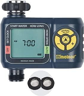 Melnor 65034-AMZ AquaTimer Digital Water Timer with 2 Stainless Steel Filter Washers Set, 1-Zone, Amazon Bundle (Renewed)