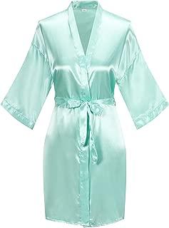 Women's Short Kimono Robe Pure Color Silky Bathrobe Bridal Party Dressing Gown