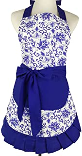 SEIFINI Lovely Vintage Womens Apron, Blue and White Porcelain Patterns Kitchen Apron for Momen's Days Gift