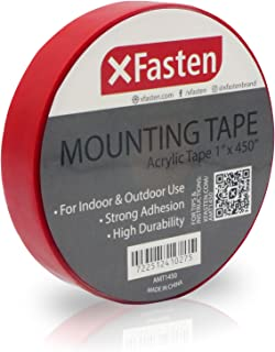 XFasten Double Sided Acrylic Mounting Tape Removable, Clear, 1-Inch x 450-Inch, Weatherproof Adhesive for Brick, Walls- Indoor and Outdoor Applications