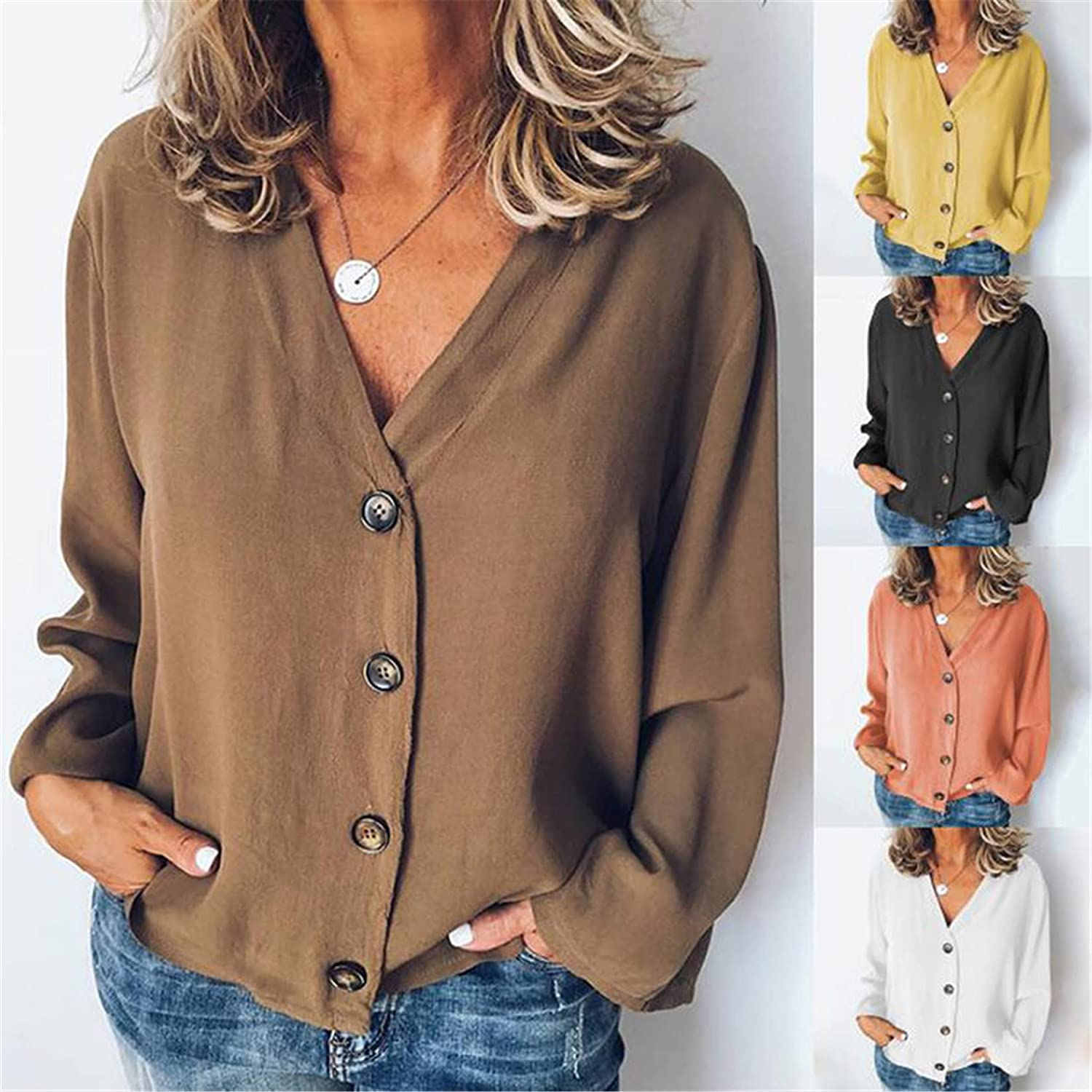 Andongnywell Women's Solid Color Long Sleeve Casual V Neck Tops Shirt Button Down Blouse Cardigan Long Sleeve Shirt