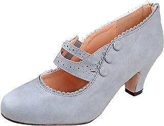 V-Luxury Womens 36-MINA4 Closed Toe Mary Jane High Heel Shoes