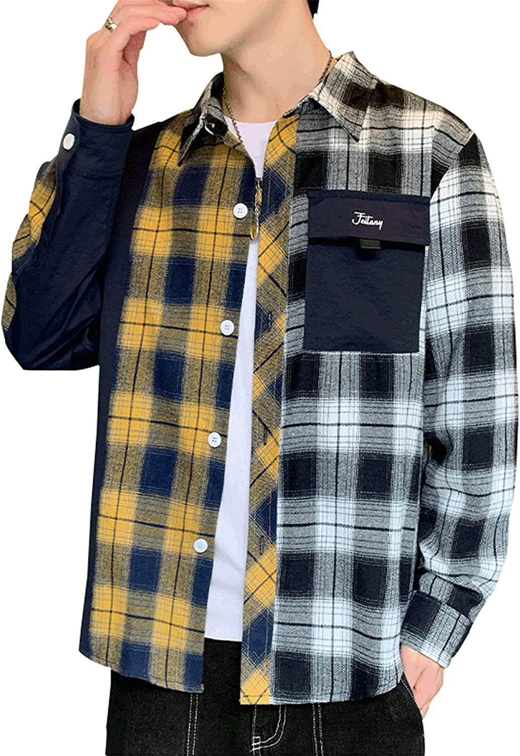 Men's Classic Lattice Shirt Long-Sleeved Fashion Color Matching Plaid Loose Fit Shirt Full Button Down with Pocket