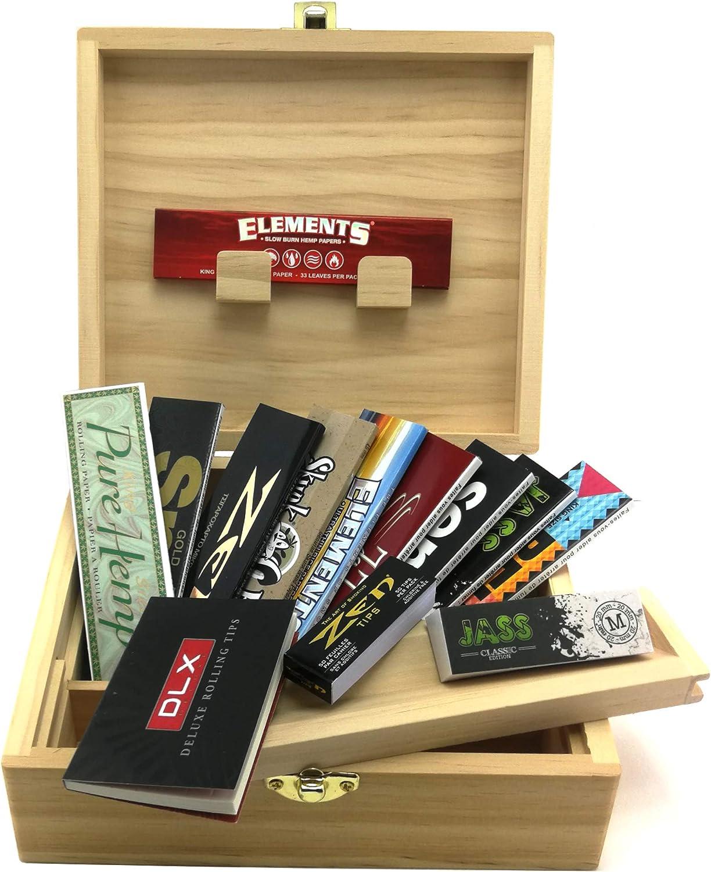 Caja de almacenamiento XL para fumadores + accesorios ( 10 cuadernos de hojas KS Slim + 3 libretas Tips)