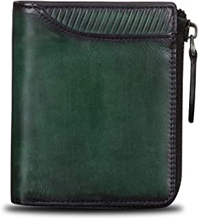 Genuine Leather Small Wallet Short Purse Card Organizer Vintage Cowhide Money Clip with Zipper Closure (Green)