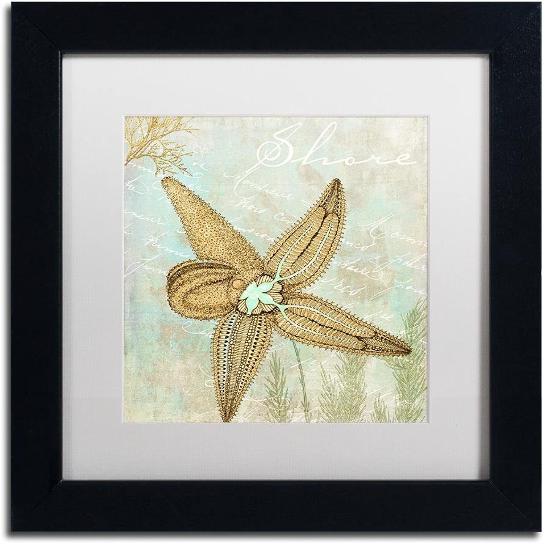 Trademark Fine Art ALI4649B1111MF Turquoise Beach V by color Bakery, White Matte, Black Frame 11x11