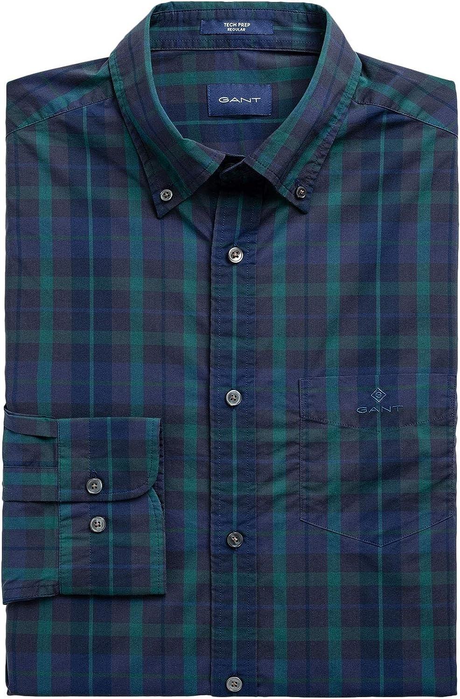 GANT Mens Tech Prep™ Plaid Broadcloth Shirt Blue in Size XXX ...