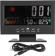 Termómetro Higrómetro Termómetro de interior Medidor de humedad, Medidores de temperatura y humedad electrónicos digitales Monitor de calibre, Pantalla LCD multifunción y reloj de escritorio con luz d