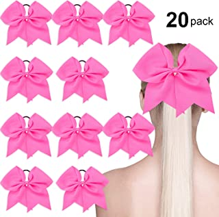 20 Pack Breast Cancer Awareness Cheerleading Hair Bow Ponytail Holder Large Bow Hair Tie for Cheerleader Girls, Hot Pink, 7 Inch