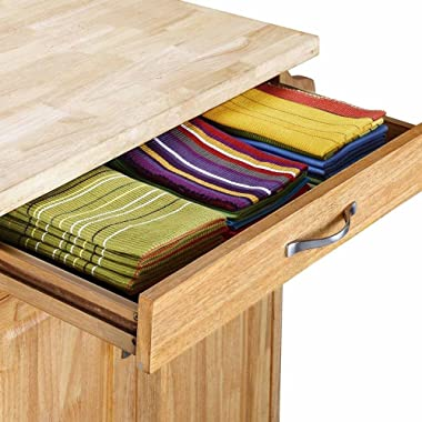 Mobile Small Kitchen Island Cart on Wheels with Solid Wood Top Two Cabinet Doors Drawer Spice Rack Towel Bar Natural Kitchen