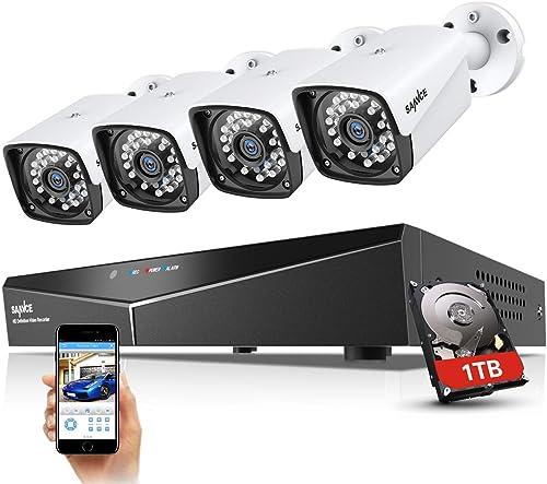 SANNCE XPOE Kit Cámara de vigilancia 1080P 4CH NVR y 4 IP Cámaras Sistema de Seguridad 2MP IP66 Impermeable Interior/...