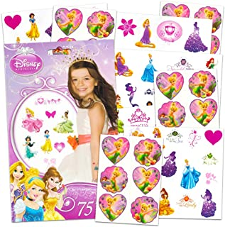 Disney Girls Tattoos Party Pack ~ Disney Princess & Disney Fairies Tattoos - 100 Assorted Temporary Tattoos ~ Cinderella, Ariel, Tiana, Belle, Tinkerbell, and More!