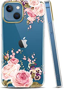 JAHOLAN Clear Case Compatible with iPhone 13 Mini Case with Flowers, for Girls Women, Shockproof Glitter Floral Pattern Hard Back Cover Phone Case 5.4 inch 2021 - Rose Pink