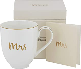 """Mrs"" Coffee Mug Tea Cup, Bride to be Gifts for Her, Gift Boxed Bride Gifts, Dishwasher & Microwave Safe, Great Bridal Shower Gift for Bride - White (13.5 oz)"