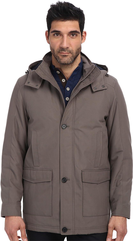 Perry Ellis Men's Long Microfiber Coat with Detachable Hood