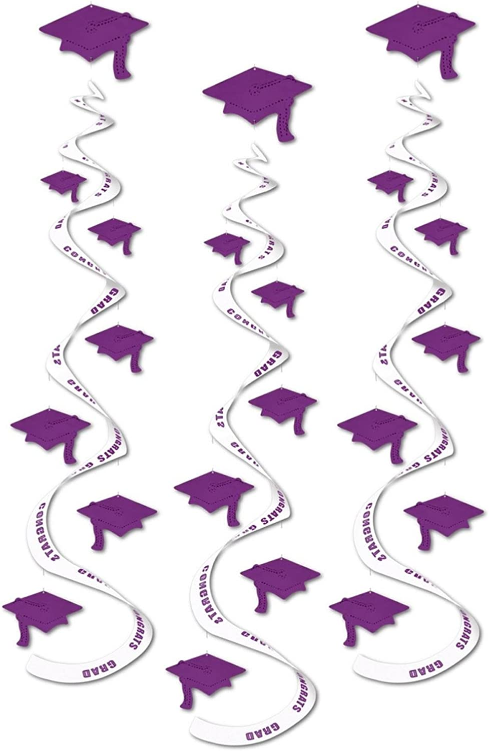 Club Pack of 18 Printed Purple Congrats Grad  Hanging Whirl Decorations 30
