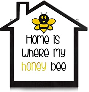 Jetec Wooden Honey Bee Sign Rustic Wooden Bee Plaque Farmhouse Honey Bee Wall Decor with House Shaped for Kitchen Living Room Tier Tray Home and Outside
