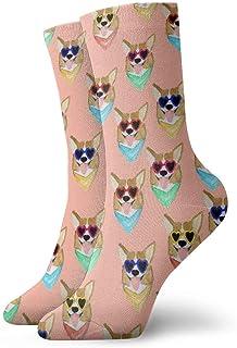 N\A, Niños Niñas Crazy Funny Colorful Corgi Love Sunglass Calcetines de vestir de novedad linda