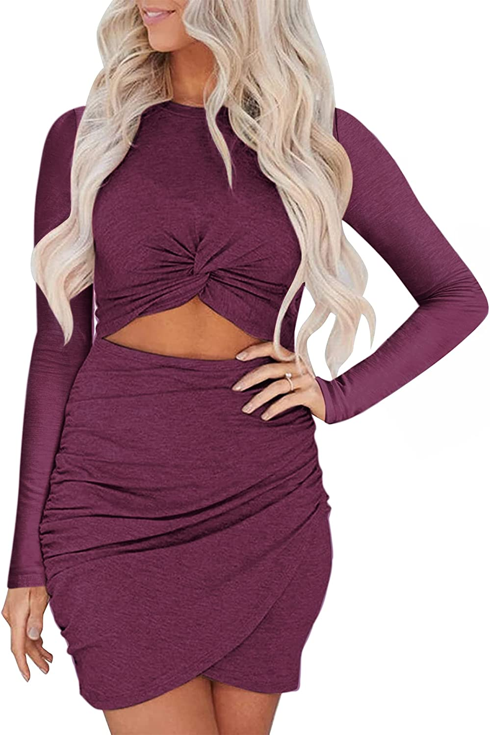 Frolitre Women's Sexy Hollow Out Twist Bodycon Party Mini Dresses Long Sleeves Wrap Sexy Club Dresses