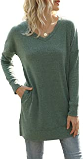 Yidarton Womens Long Sleeve Tops V Neck Solid Color Causal T Shirts Tunic Blouse