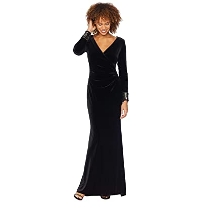 Vince Camuto Long Sleeve Gown with Sequin Cuff (Black) Women