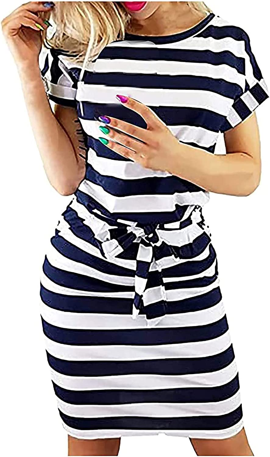 Summer Dresses For Women Striped Graphic Office Dress Short Sleeve Wear To Work Dress Casual Pencil Dress With Belt