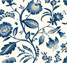 York Wallcoverings Tropics Watercolor Jacobean Removable Wallpaper, White/Light to Dark Blue/White/Beige
